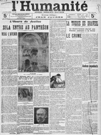 Une de l'humanité, juin 1908, éditorial de Jaurès sur l'entrée de Zola au Panthéon