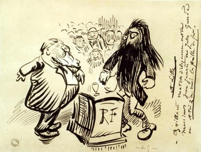 Caricature de Jaurès et de Guesde, Lille, 1900.