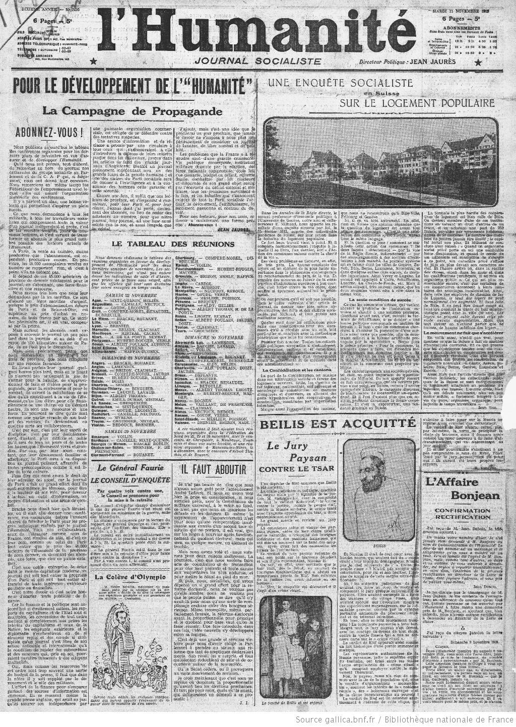 L'Humanité, 11 novembre 1913. Article de jaurès :