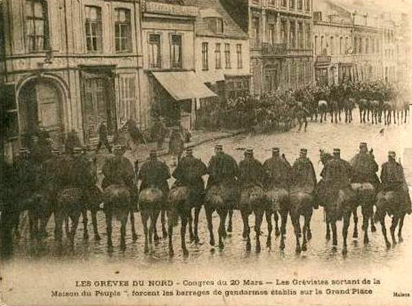 Lens, 1906. Les gendarmes face aux grévistes
