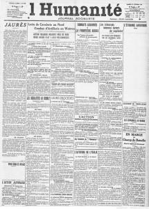 L'Humanité du 10 octobre 1914. Texte de Vaillant sur Jaurès.
